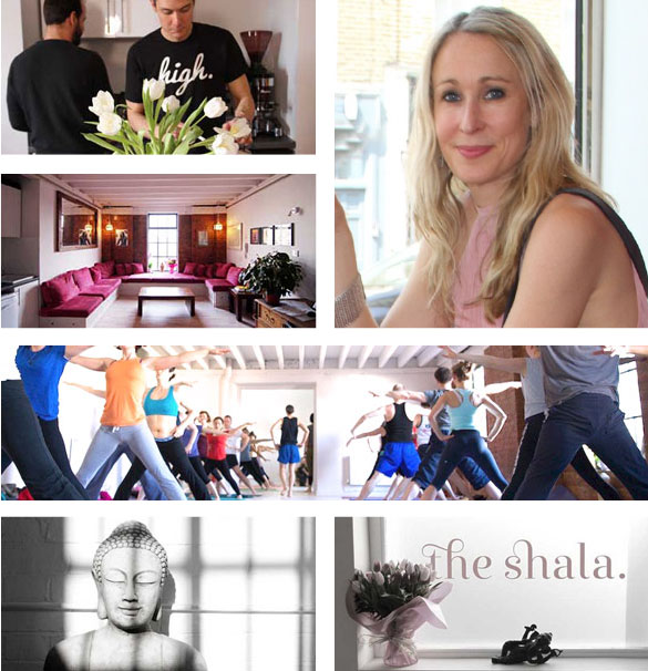 Many images showing The Shala Yoga Center, with Ella Milroy and Gingi Lee. Ella Milroy gives a testimonial for YogaWebsite.