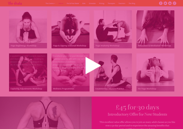 MINDBODY API page re-invented showing both MINDBODY workshops and classes for a yoga center.